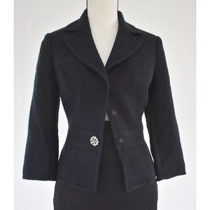 2836d2b77 Caslon Textured Knit Blazer 3/4 Sleeve Black Sz 6